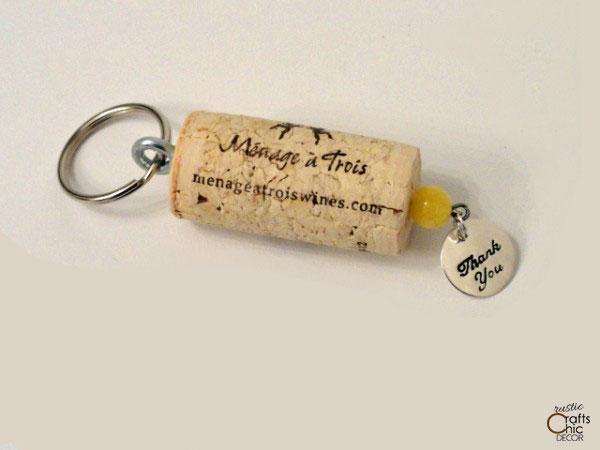 wedding favor wine cork keychain