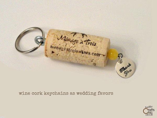 wine cork keychain wedding favor
