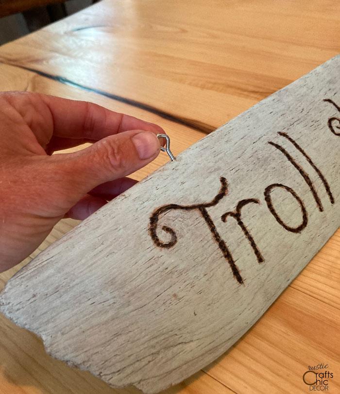 diy troll driftwood sign