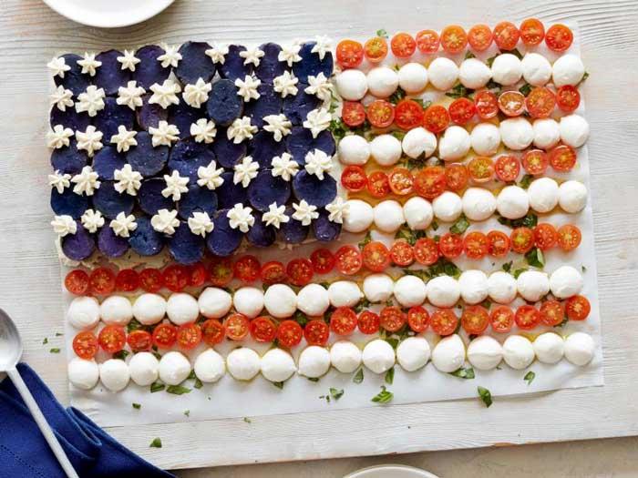 flag caprese salad