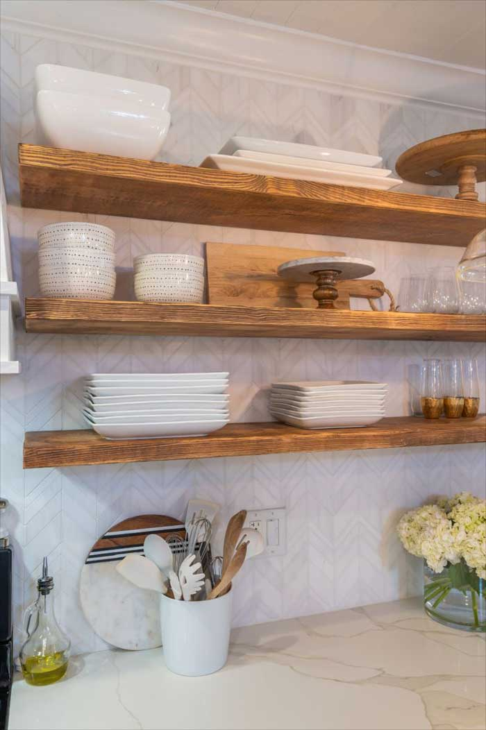 neutral with texture open kitchen shelving