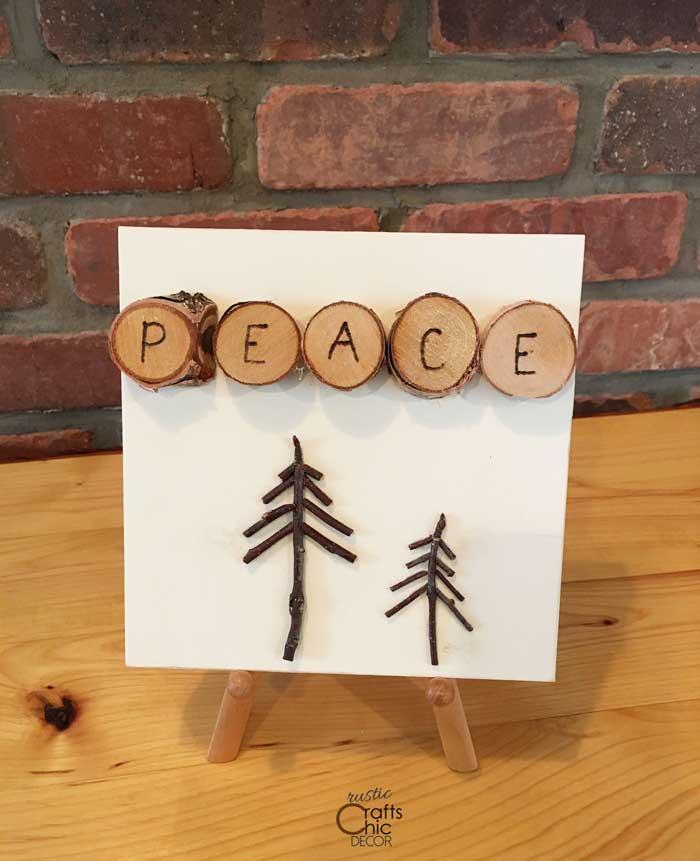 peace diy wood art square