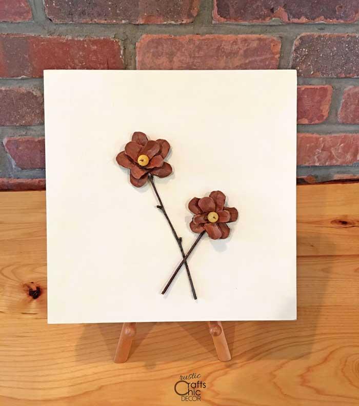 rustic flowers wood wall art
