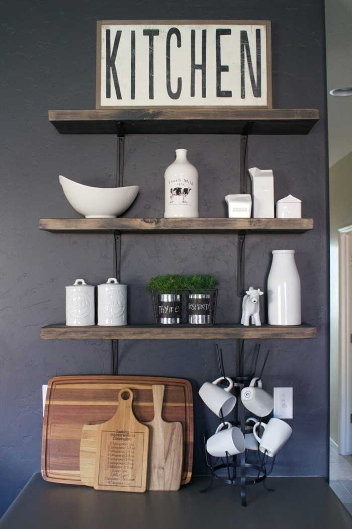 simple kitchen open shelving