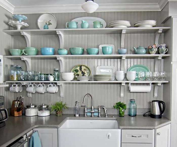 splashes of greens and blues for open shelving