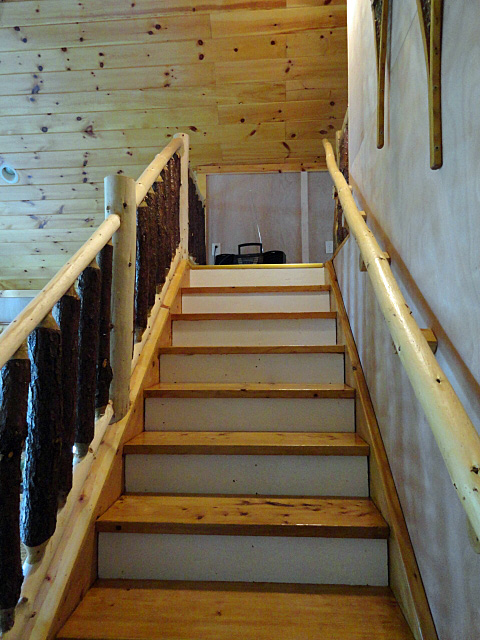 log stair handrail and banister