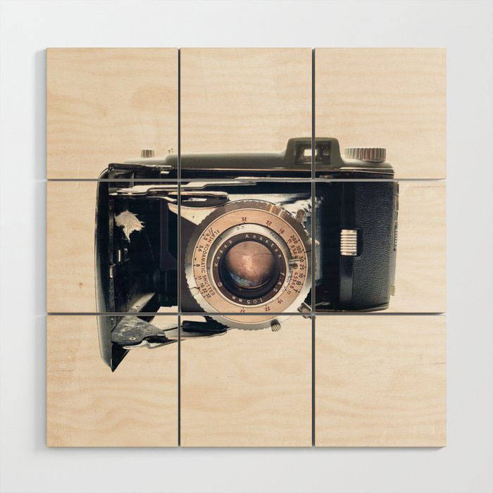 vintage camera wood wall art accent