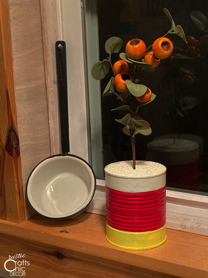 candy corn can planter