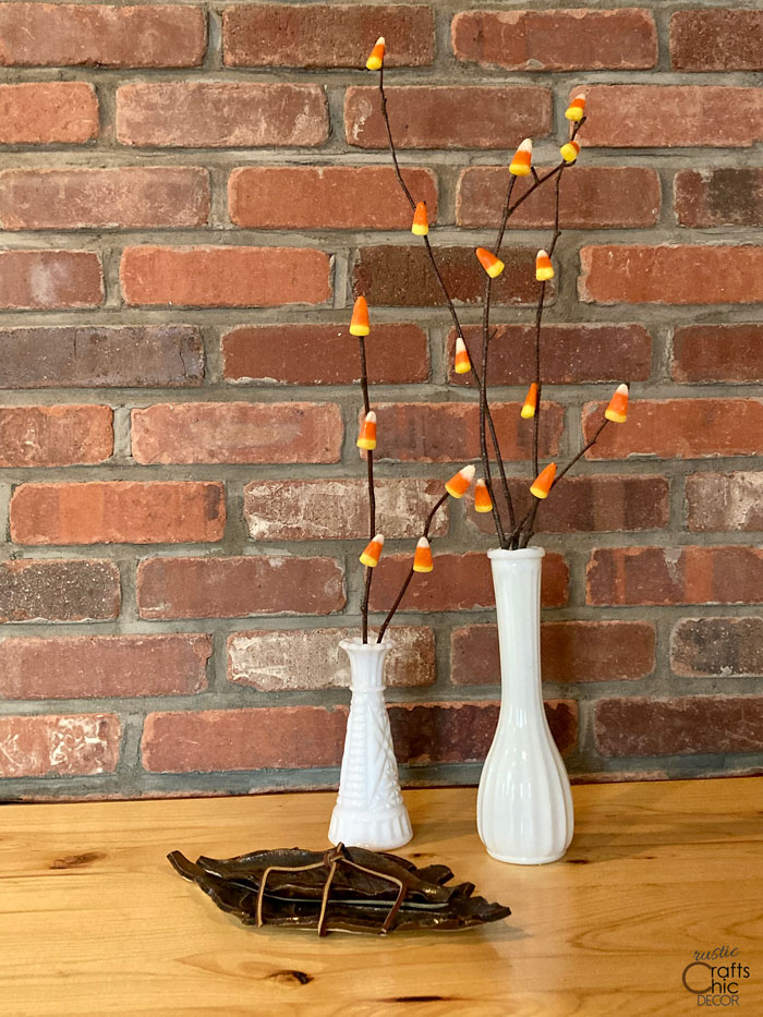 candy corn on branches