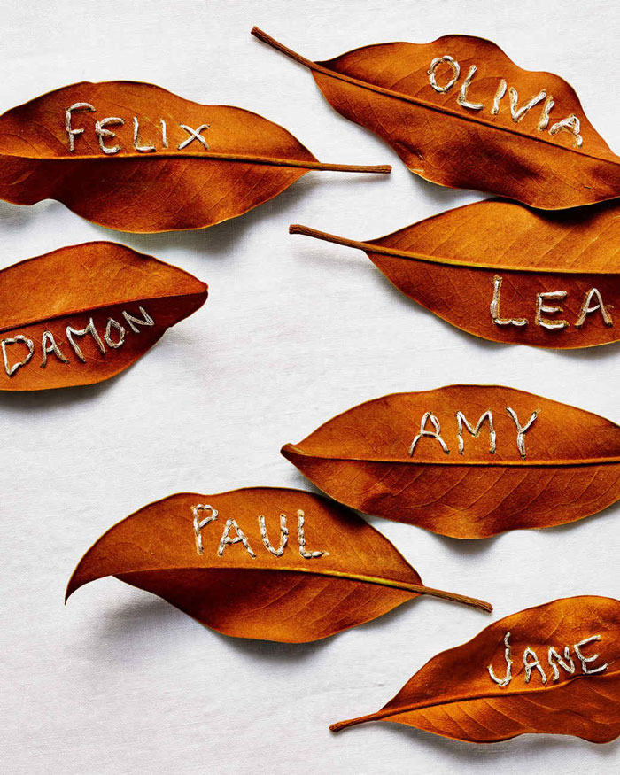 embroidered leaf place cards