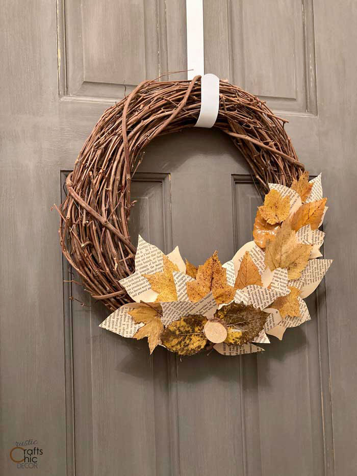 fall book page wreath