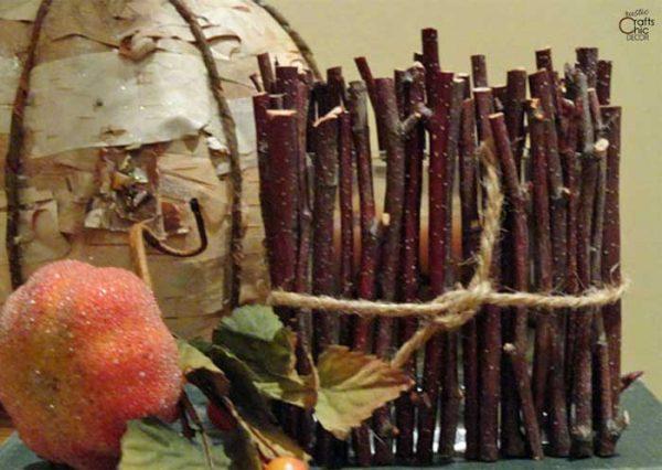 fall diy twig candle holder