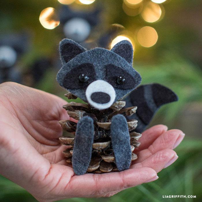 diy felt pinecone raccoon