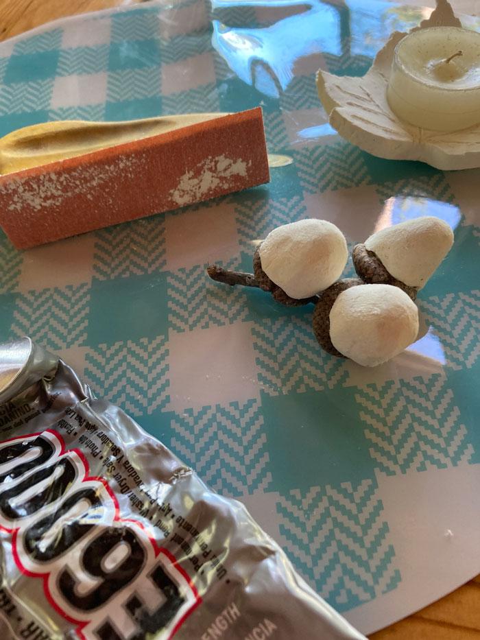 glued clay acorns