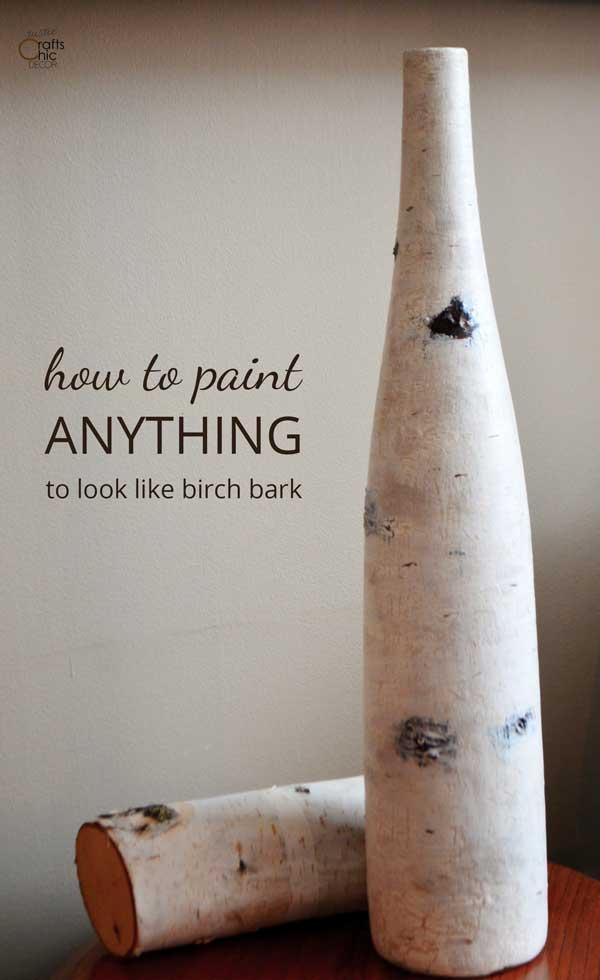 painted birch bark vase