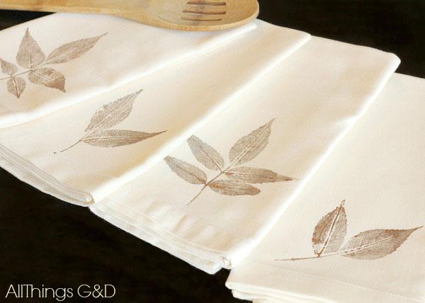 leaf stamped napkins