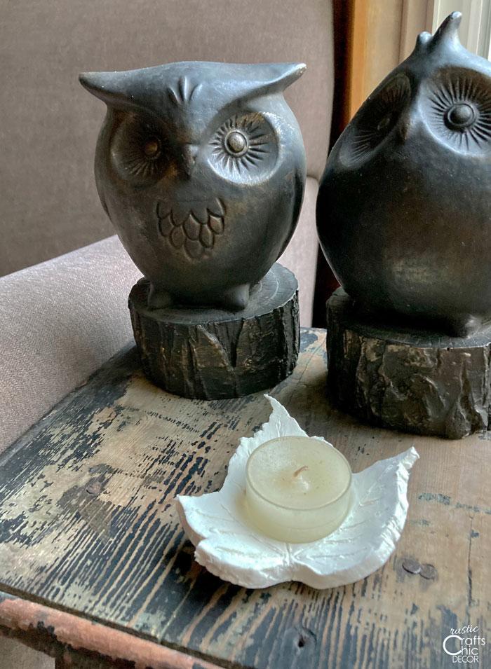 owl with clay leaf