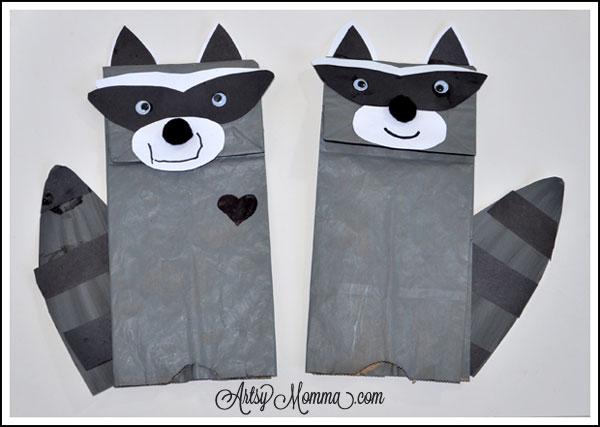 raccoon puppet craft