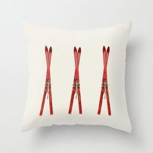 vintage skis throw pillow