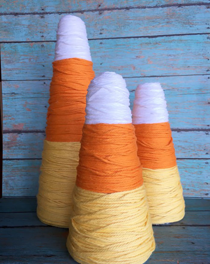 yarn wrapped cone candy corn