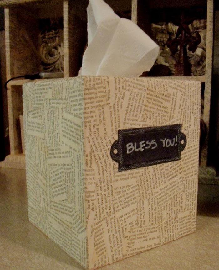 book page tissue box cover