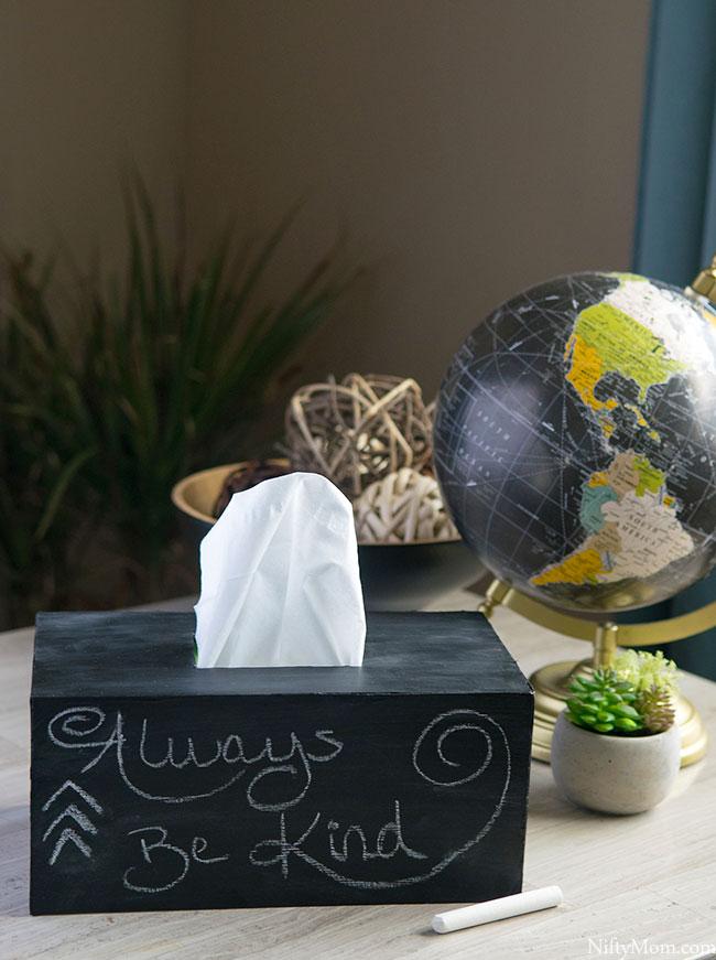 chalkboard diy tissue box cover