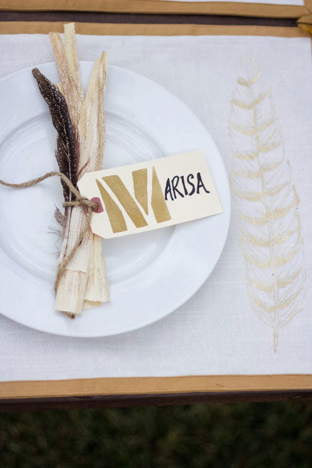 corn and feather place cards