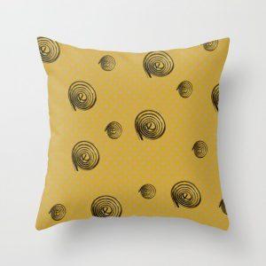 festive golden spirals throw pillow