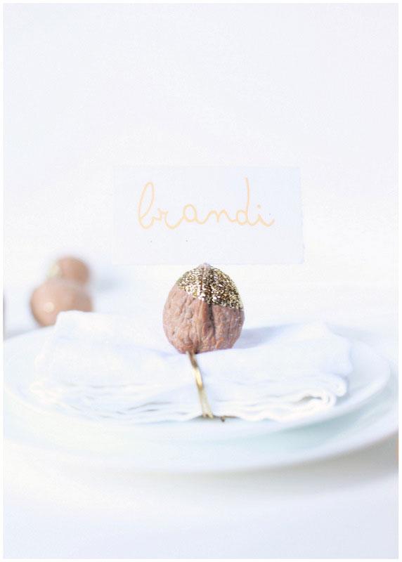 glittered walnut place card holders