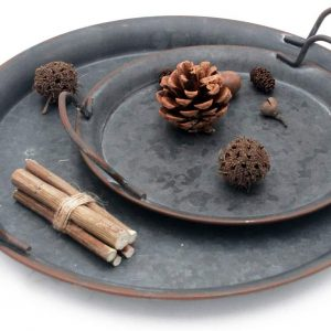 industrial round metal tray set