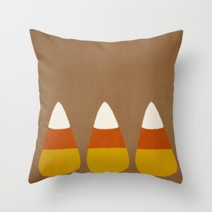 candy corn throw pillow brown