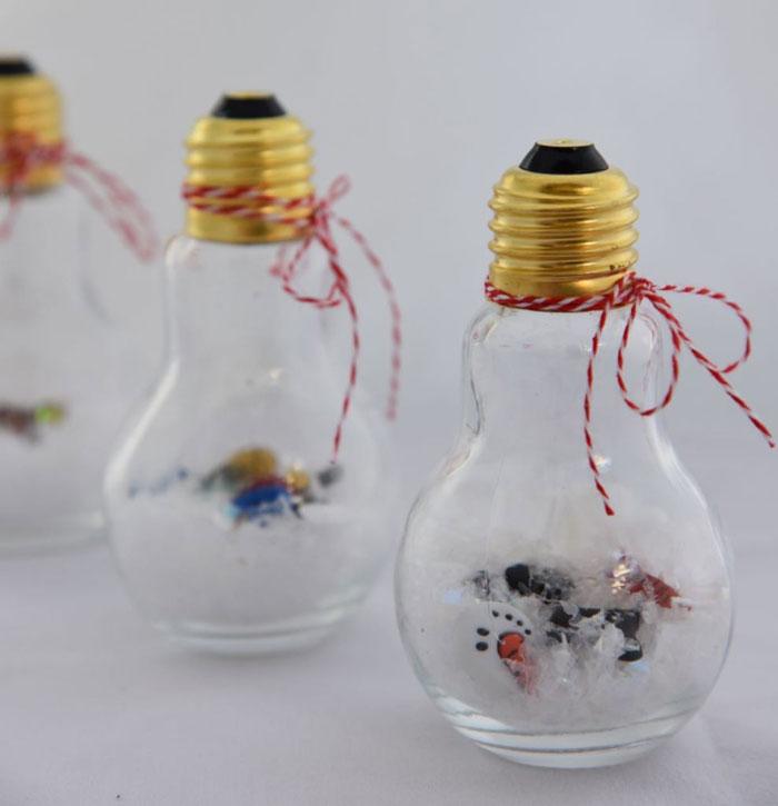 light bulb snow globe