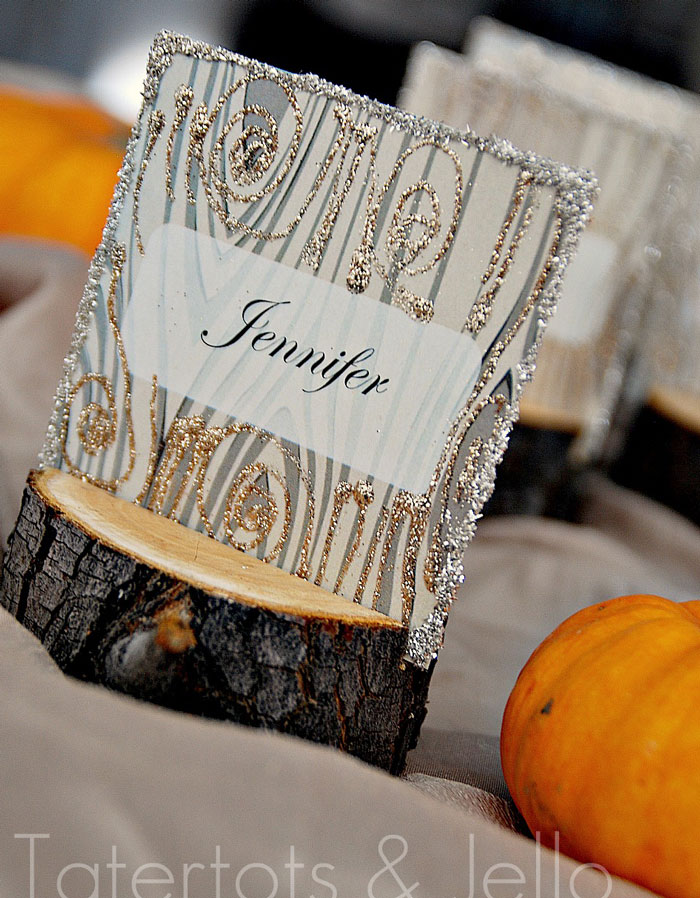 log stand place card holders