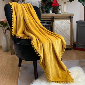 mustard yellow throw blanket