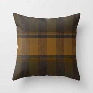 rustic fall plaid throw pillow