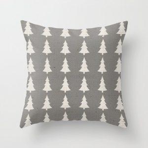 white pines on gray pillow